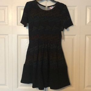 NWT Lularoe Amelia Dress Sz Medium Black Dipped
